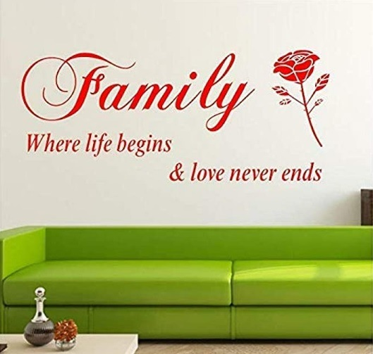 Family Love Never Ends Abnehmbare Vinyl Wandtattoo