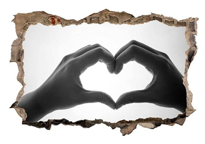 Herz Hand Liebe Love Wandtattoo Wandsticker Wandaufkleber